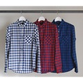 INDIGO BLOCK CHECK STANDARD SHIRTS