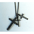 BRASS TRIPLE CROSS NECKLACE