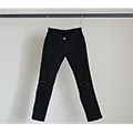 STRETCH SUPER SKINNY ANKLE CUT DAMAGE BLACK DENIM