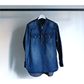 SHAVING DENIM BAND/C ZIP UP SHIRTS L/S