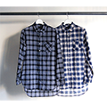 INDIGO GAUZE CHECK LONG SHIRTS L/S