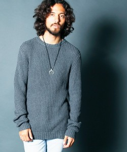 5G CTN AZE RIB PULL OVER KNIT GREY