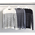 7G WOOL PANEL BOADER PULL OVER KNIT L/S