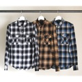 CTN OMBRE CHK MILITARY PKT SHIRTS