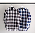 STRETCH FLANNEL OMBRE CHK TUNIC SHIRTS